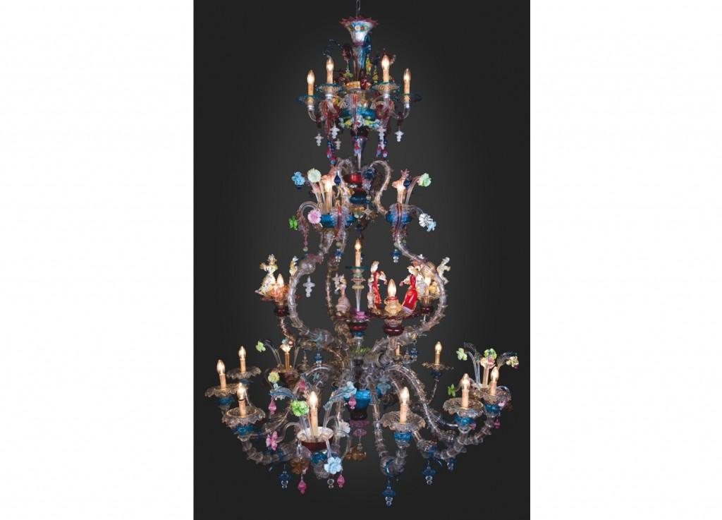 Enorme lustre floréal multicolore de murano en verre de venise