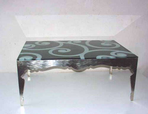 table basse en fer forg plateau en verre luxury chandeliers. Black Bedroom Furniture Sets. Home Design Ideas